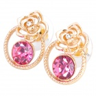 MaDouGongZhu R100-4 Rose Shaped Zinc Alloy / Rhinestone Stud Earrings - Gold + Deep Pink (Pair)