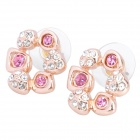 MaDouGongZhu R119-8 Flower Shaped Alloy / Gold Plated Stud Earrings - Gold + Deep Pink (Pair) 