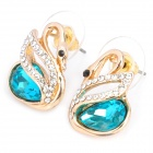 MaDouGongZhu R113-1 Swan Shaped Alloy Gold Plated Rhinestone Stud Earrings - Gold + Sea Blue(Pair) 
