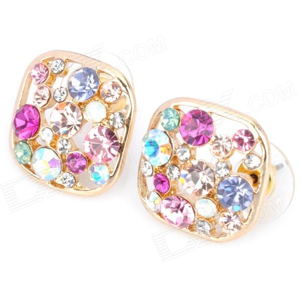 MaDouGongZhu R104-2 Square Skeleton Zinc Alloy / Gold Plated / Rhinestone Stud Earrings - Multicolor