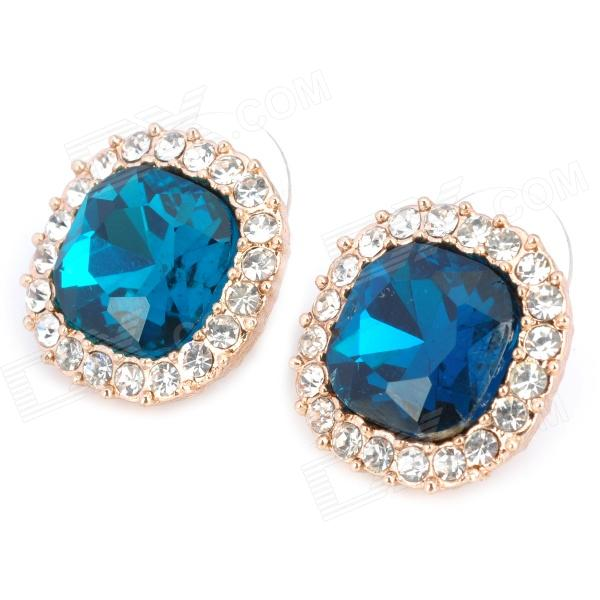 MaDouGongZhu R071-2 Concise Square Shaped Alloy Crystal Stud Earrings - Gold + Sapphire Blue (Pair)