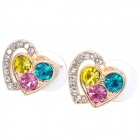 MaDouGongZhu R074-4 Heart Shaped Alloy / Gold Plated Rhinestone Stud Earrings - Multicolored (Pair)