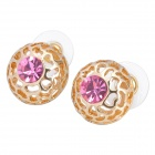 MaDouGongZhu R123-1 Semi-circle Skeleton Shaped Rhinestone Stud Earrings - Gold + Deep Pink (Pair)