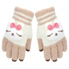 Rabbit Style Cashmere Style Three Finger Capacitive Screen Touching Hand Warmer Gloves - Beige