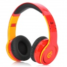 Syllable G08-005 Folding Design Wireless Bluetooth V2.0 Stereo Headphones w/ Mic - Red + Yellow