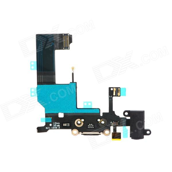 Replacement Flex Cable + Audio Jack for Iphone 5 - Black + Blue replacement charging tail plug connector flex cable for iphone 6 4 7 black blue multi colored