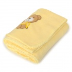 Cute Bear Soft Plush Baby Blanket Quilt - Yellow + Brown