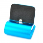 Data Sync / Charging Dock Stand w/ Retractable Lightning 8-Pin Cable for iPhone 5 - Black + Blue