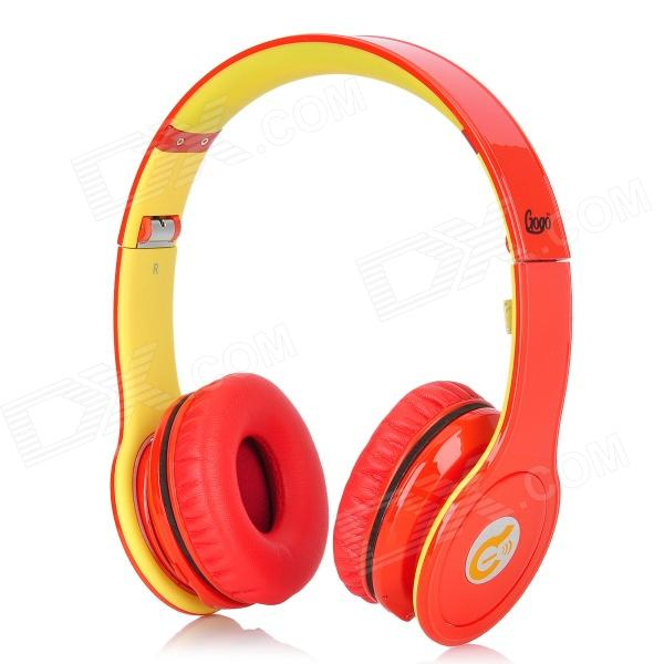 Syllable G15-006 Folding Design Wireless Bluetooth V2.0 Stereo Headphones w/ Mic - Red + Yellow