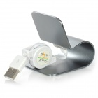 Lightning 8-Pin Aluminum Alloy Desktop Dock w/ Retractable Cable for iPhone 5