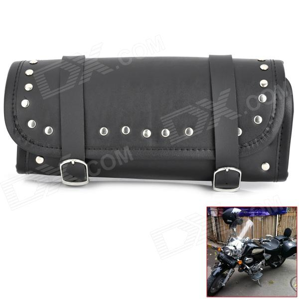 Studded Artificial Leather Tool Bag for Motorcycle - Black