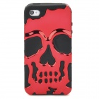 3D Skull Style Dual-Layer PC + Silicone Back Case for Iphone 4 / 4S - Red + Black