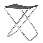 Multi-Function Stainless Steel + Canvas Folding Stool - Black + Silver