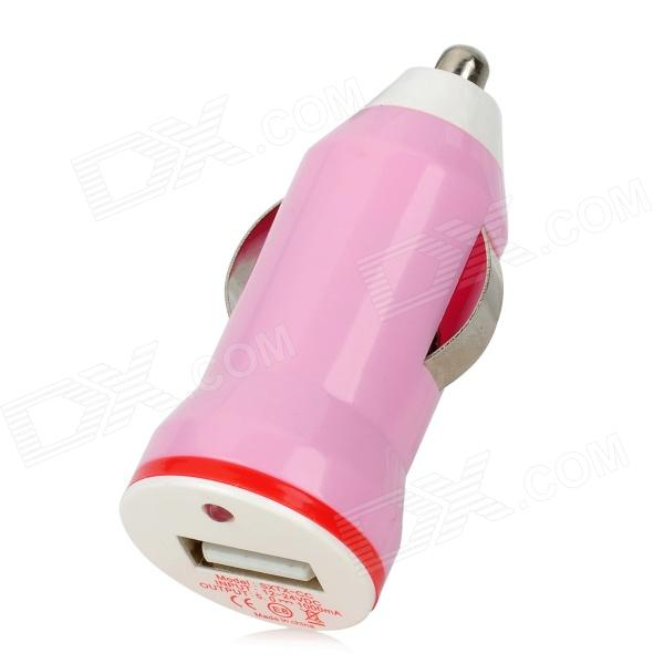 E8-CC Stylish Car Cigarette Powered Charging Adapter Charger w/ USB Output - Pink