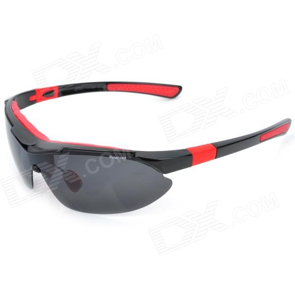 KaShiLuo 9291 Men's Bicycle Riding Polarized UV400 Protection Sunglasses - Black + Red ossat sh 800114 fashion retro women s uv400 protection polarized sunglasses transparent red