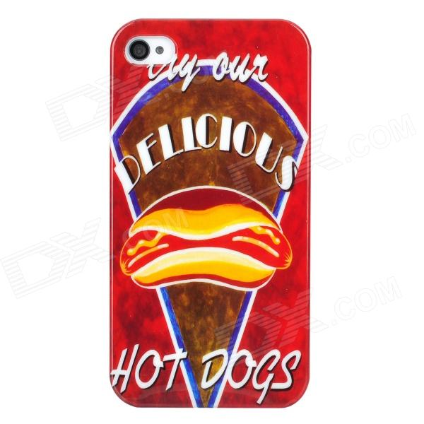 Hot Dogs Pattern Protective Plastic Back Case for iPhone 4 / 4S - Red