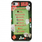 Poker Pattern Protective Plastic Back Case for Iphone 4 / 4S - Green + Red