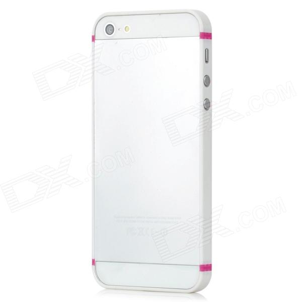 Protective Soft Rubber Bumper Frame for Iphone 5 - Deep Pink + White