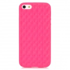 Checked Pattern Protective Silicone Back Case for iPhone 5 - Deep Pink