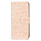 Cute Cartoon Stil Protective PU Ledertasche für das iPhone 5 - Light Pink