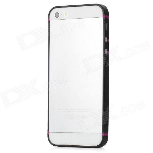 Protective Rubber Bumper Frame Case for Iphone 5 - Purple + Black