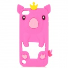 Cute Pig Shape Protective Soft Silicone Case for iPod Touch 5 - Deep Pink