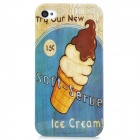 Ice Cream Pattern Plastic Back Case for Iphone 4 / 4S - Blue + White + Brown