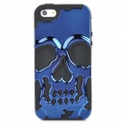 3D Skull Style Dual-Layer PC + Silicone Back Case for Iphone 5 - Dark Blue + Black