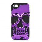 3D Skull Style Dual-Layer PC + Silicone Back Case for Iphone 5 - Purple + Black
