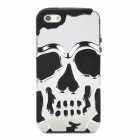 3D Skull Style Dual-Layer PC + Silicone Back Case for Iphone 5 - Silver + Black