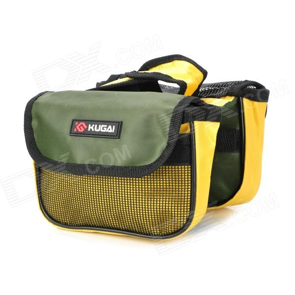 KUGAI 12152 Cycling Bicycle Front Saddle 420D + Polyester Mesh Double Storage Bag - Black + Yellow roswheel 12659 waterproof cycling bicycle pu top tube double storage bag black
