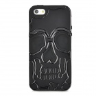 3D Skull Style Dual-Layer PC + Silicone Back Case for Iphone 5 - Black