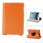 Protective Alligator Pattern 360 Degree Rotation PU Leather Case for Ipad MINI - Deep Yellow