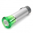MKDPL-02 Mini 5lm 3-LED White String Dynamo Dimming Flashlight - Silver + Grey + Green