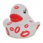 Funny Kiss Pattern Floating Duck Bath Toy for Kids - White + Red