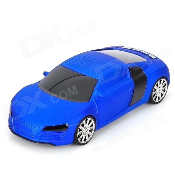 "A8 Mini Car Shape Rechargeable 0.8"" LCD Speaker w/ TF / USB / FM Radio - Blue + Black"
