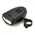 4-LED 3-Mode White Light Electronic Bike Horn Warning Light w/ Mount - Black (3 x AAA)