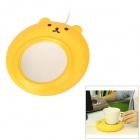 YiPinTang LJW-033 медведь стиль USB Power 3W Cup Warmer Pad - Yellow + Silver