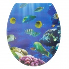 1010 Sea Fish Pattern Self-Adhesive Toilet Seat Cover Sticker - Blue + Green