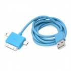 3-in-1 USB Data/Charging Cable w/ Iphone 30-Pin + Mini USB + Micro USB Port for Cell Phone - Blue