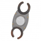 Double Blades Stainless Steel Pocket Cigar Cutter Knife - Grey