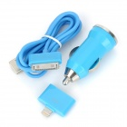 Car Charger Adapter + USB to 30-Pin Cable + 8-Pin Lightning Adapter Set - Blue