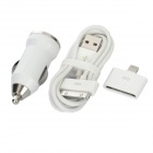 Car Charger + 30 Pin Female to 8 Pin Male Lightning Adapter + USB Cable for iPhone - White