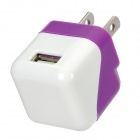 US Plug USB Power Adapter for Iphone 5 - Purple + White