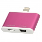 Micro USB / Mini 5-Pin to Lightning 8-Pin Adapter w/ Micro USB Cable for iPhone 5 - Purple
