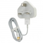 8 Pin Lightning Male to USB Male Data / Charging Cable + AC Power UK Plug Adapter - White
