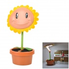 YiPinTang SN-8022 Sunflower Style USB Power 1.6W 17-LED White Table Lamp - Green + Yellow + Earthy