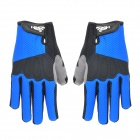Warm Full Finger Riding Gloves - Black + Blue (XL / Pair)