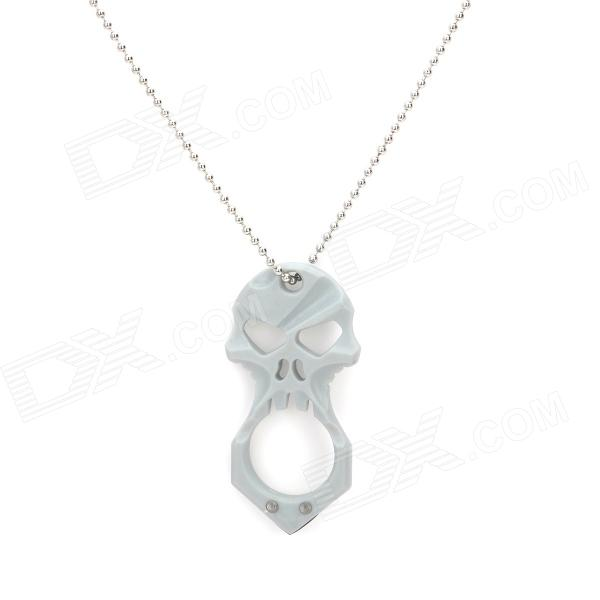 Skull Style Self Defense Protection Safety Necklace - Silver + Grey (70cm)