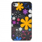 Flower Pattern Raindrop Style Protective Back Case for Iphone 4 / 4S - Black